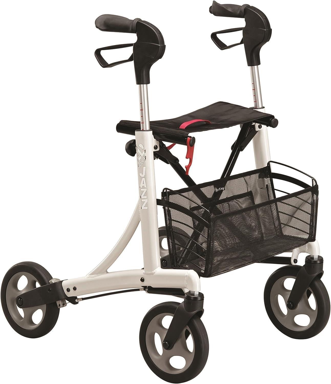 Andador ortopédico rollator Dolomite Jazz I 600 | Con asiento, cesta de tela frenos y ruedas | Invacare | Altura del asiento: 60 cm