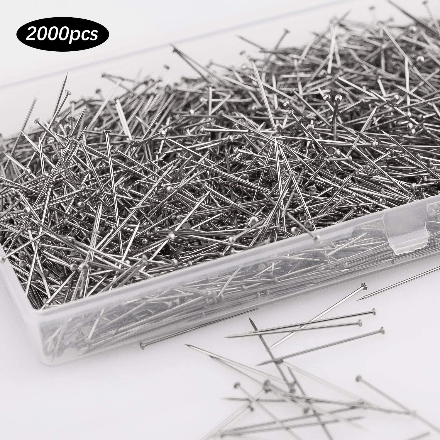 1 inch AIEX 2000 Pieces Sewing Pins Head Pins/Fine Satin Pin Straight for Dressmaker Jewelry Craft Sewing Projects