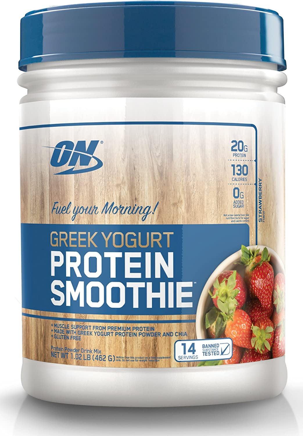 OPTIMUM NUTRITION On Greek Yogurt 14 Servings Protein Smoothie, Strawberry, 1.02 Pound