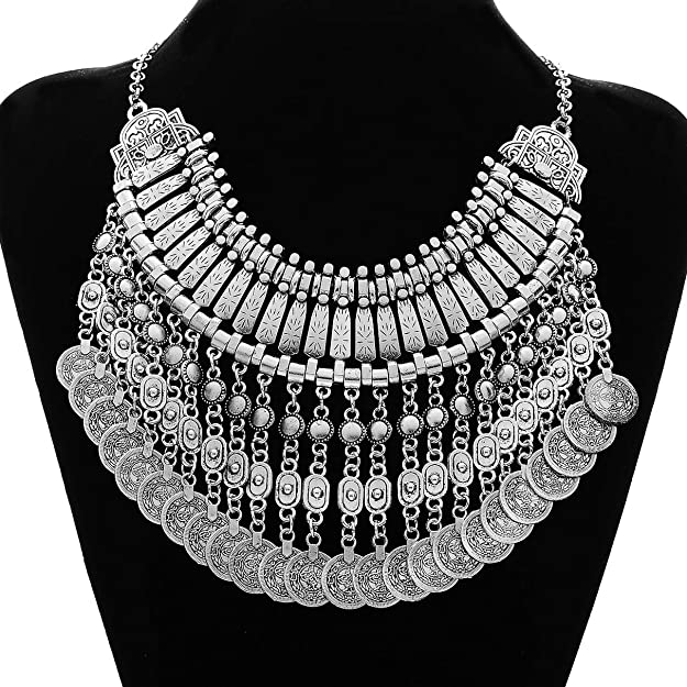 MJartoria Ethnic Boho Gypsy Antique Silver Color Bib Chunky Tassel Collar Choker Festival Coin Necklace