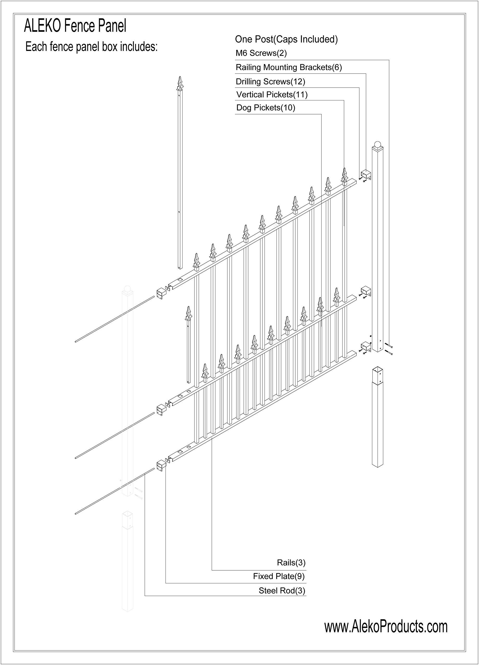 ALEKO Munich Style DIY Iron Wrought Steel Fence 5.5' X 5' Ornamental Fence
