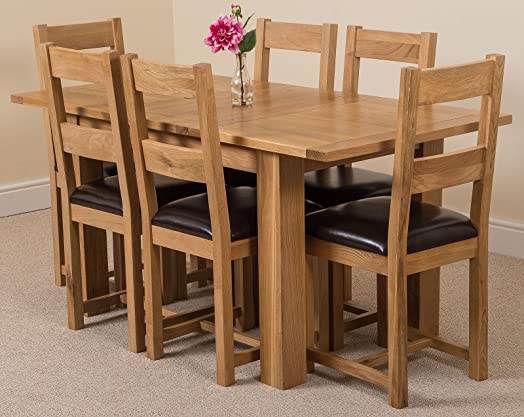 hampton solid oak 120 160 cm extending dining table 6 brown lincoln - Solid Oak Extending Dining Table And 6 Chairs