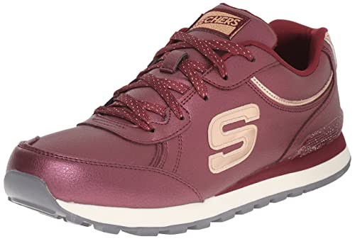 Skechers Originals Women's Retros Pearlized PU Rose Go Fashion Sneaker,  Burgundy Shimmers, ...