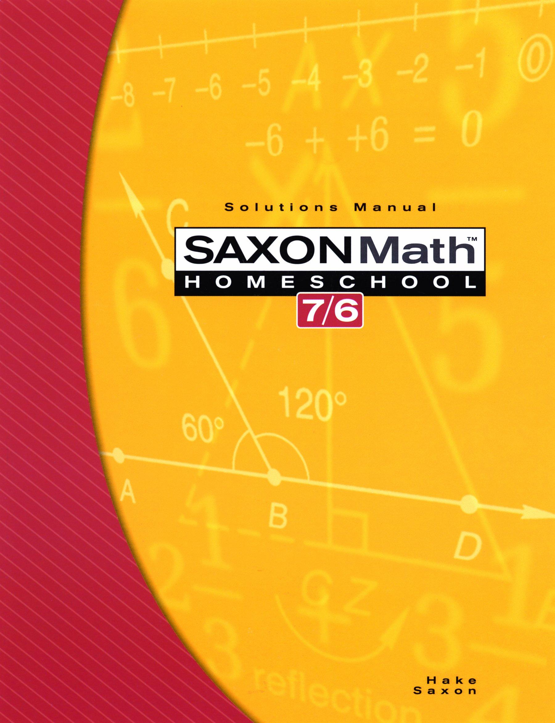 Saxon Math 7/6, Homeschool Solutions Manual PDF