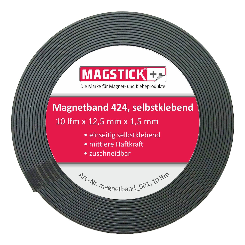 Nastro adesivo magnetico Magstick® 424, 12,5mm di larghezza, 1,5mm di spessore. Per materiale di presentazione, fotografie, scaffali, cartelli, display, decorazioni a scuola, in ufficio, a casa, in magazzino, in fiera 5mm di larghezza easydruck24de