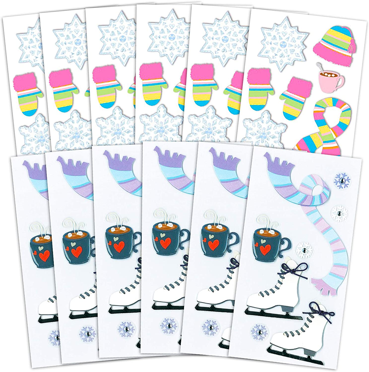 12 Winter Sticker Packs for Kids Toddlers Snowflake Party Supplies, Decorations Ice Skating Stickers Party Favors Pack