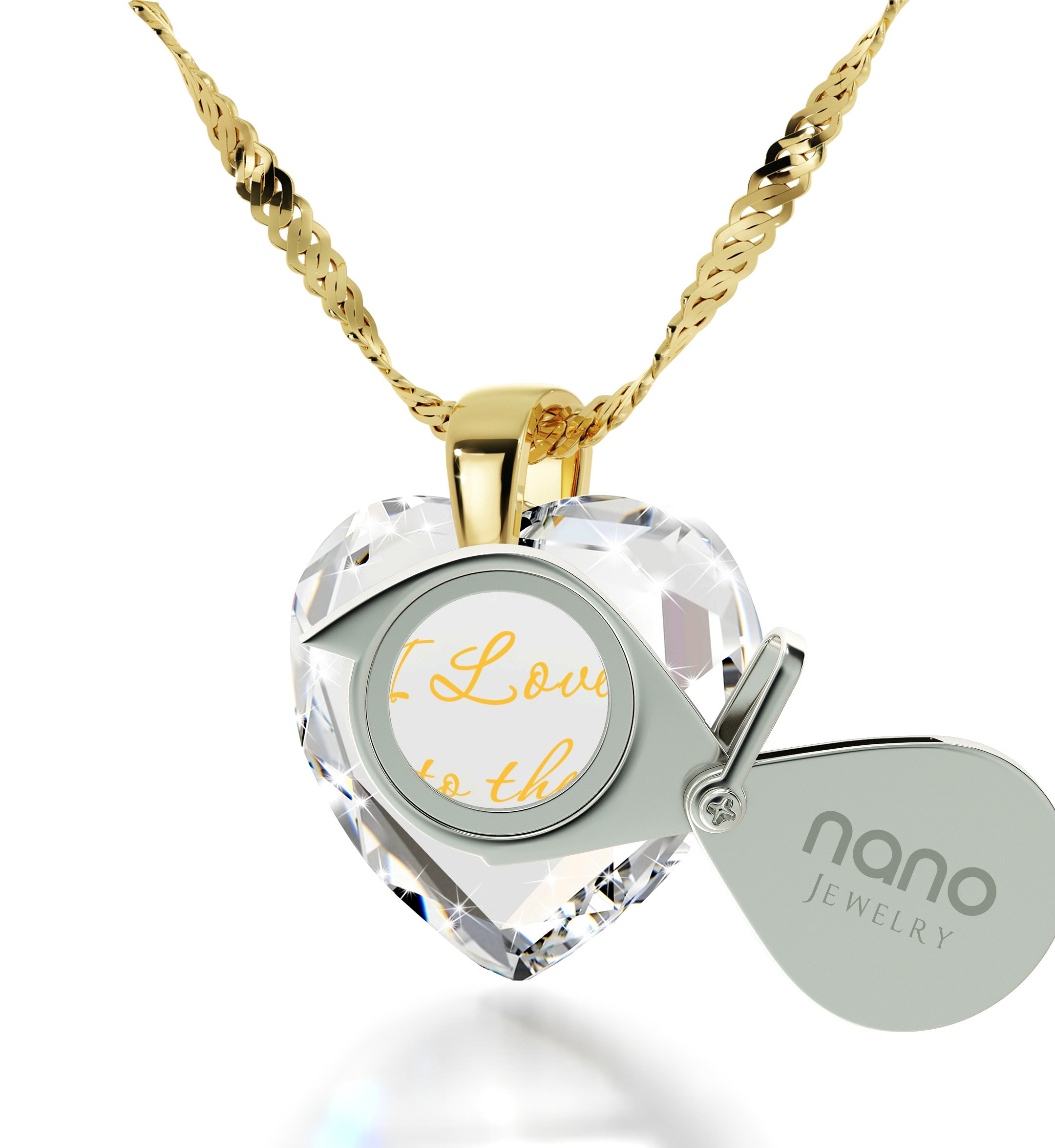 Heart Jewelry Set CZ I Love You to the Moon and Back Necklace and Crystal Earrings, 18'' Gold Filled Chain by Nano Jewelry (Image #2)