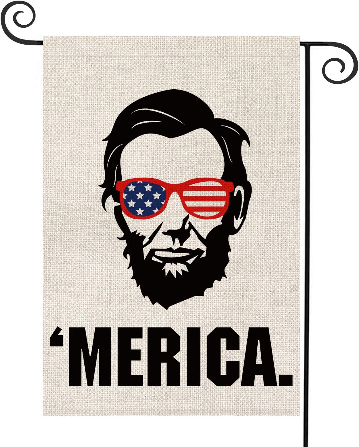 AVOIN President's Day Abraham Lincoln Merica Garden Flag Vertical Double Sided Patriotic Strip and Star, 4th of July Memorial Day Independence Day Yard Outdoor Decoration 12.5 x 18 Inch