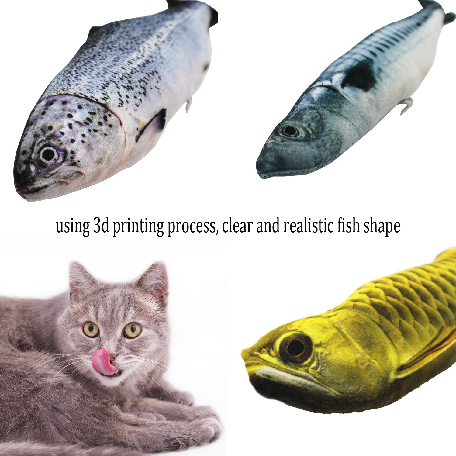 Ruri's 3 Pack Catnip Toys for Cat Simulation Plush Fish Shape Doll Artificial Fish Toy Interactive Pets Pillow by Ruri's (Image #4)