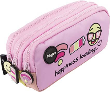 Estuche para lápices de 3 compartimentos FRINGOO, para niños, divertido y bonito, color Happiness Loading - 3 Compartments Large: Amazon.es: Oficina y papelería