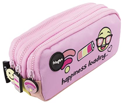 Estuche para lápices de 3 compartimentos FRINGOO, para niños, divertido y bonito, color Happiness Loading - 3 Compartments Large