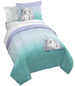 Disney Little Mermaid Make A Splash 5 Piece Twin Bed Set - Includes Reversible Comforter & Sheet Set - Bedding Features Ariel - Super Soft Fade Resistant Microfiber - (Official Disney Product)...