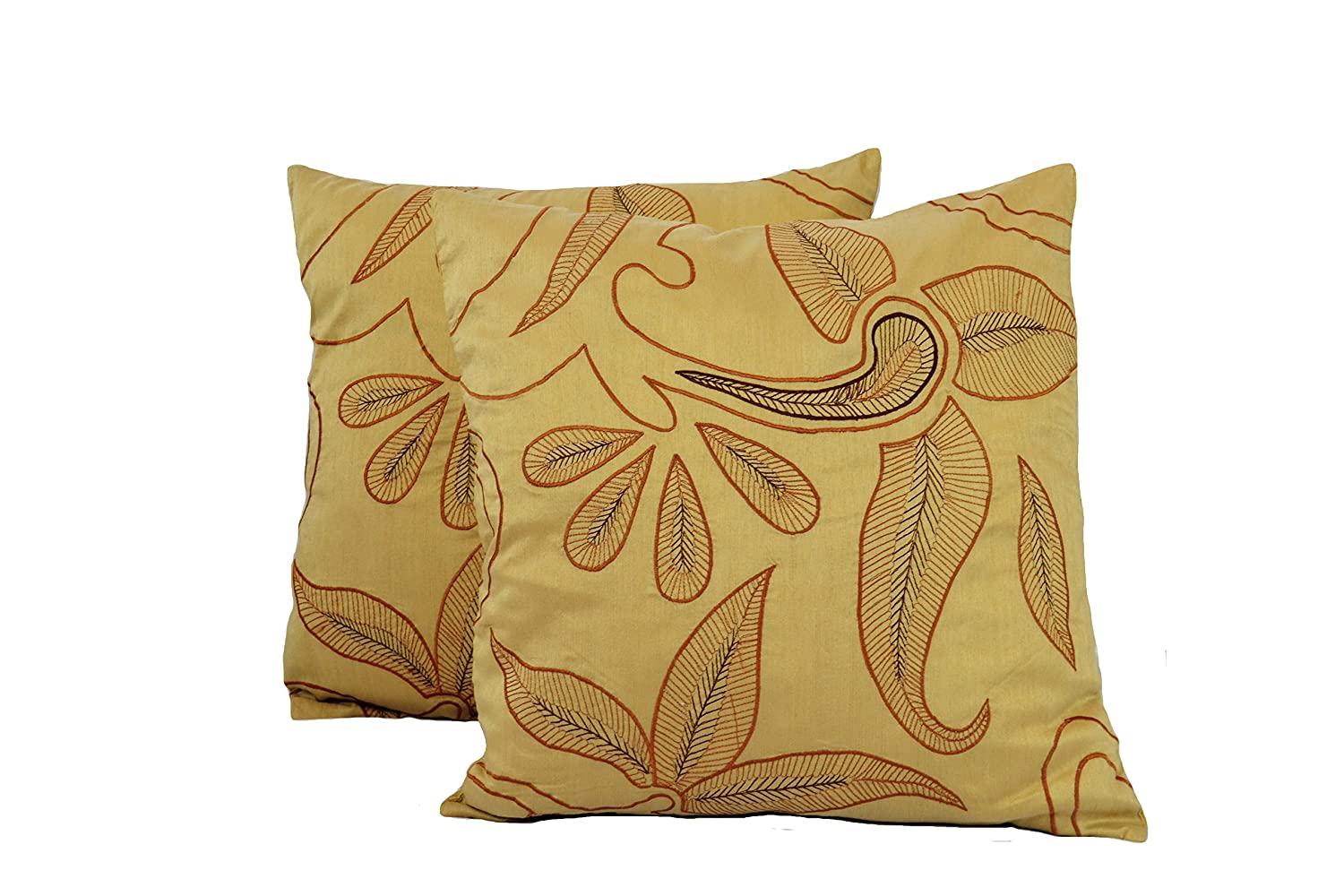 18X18 2 Piece DRB Collection 18 X 18 Leaves Throw Pillow Set of 2