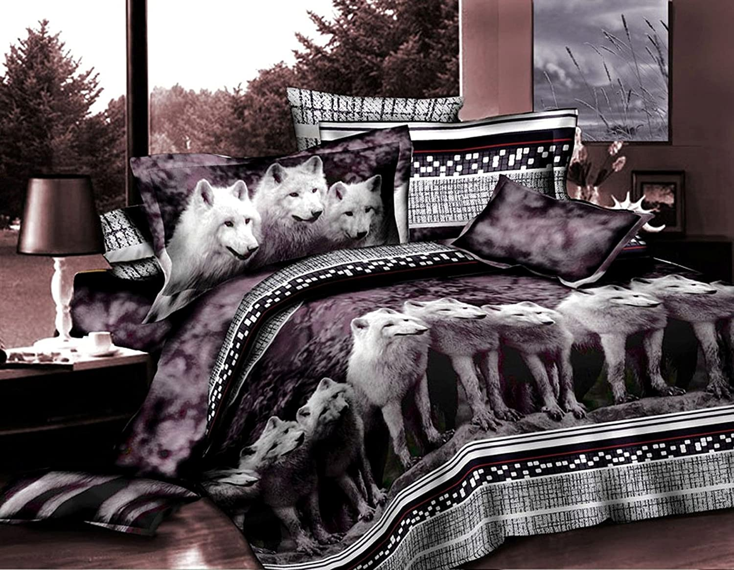3 Piece Set Mountain Wolves Soft 3d Comforter Set King