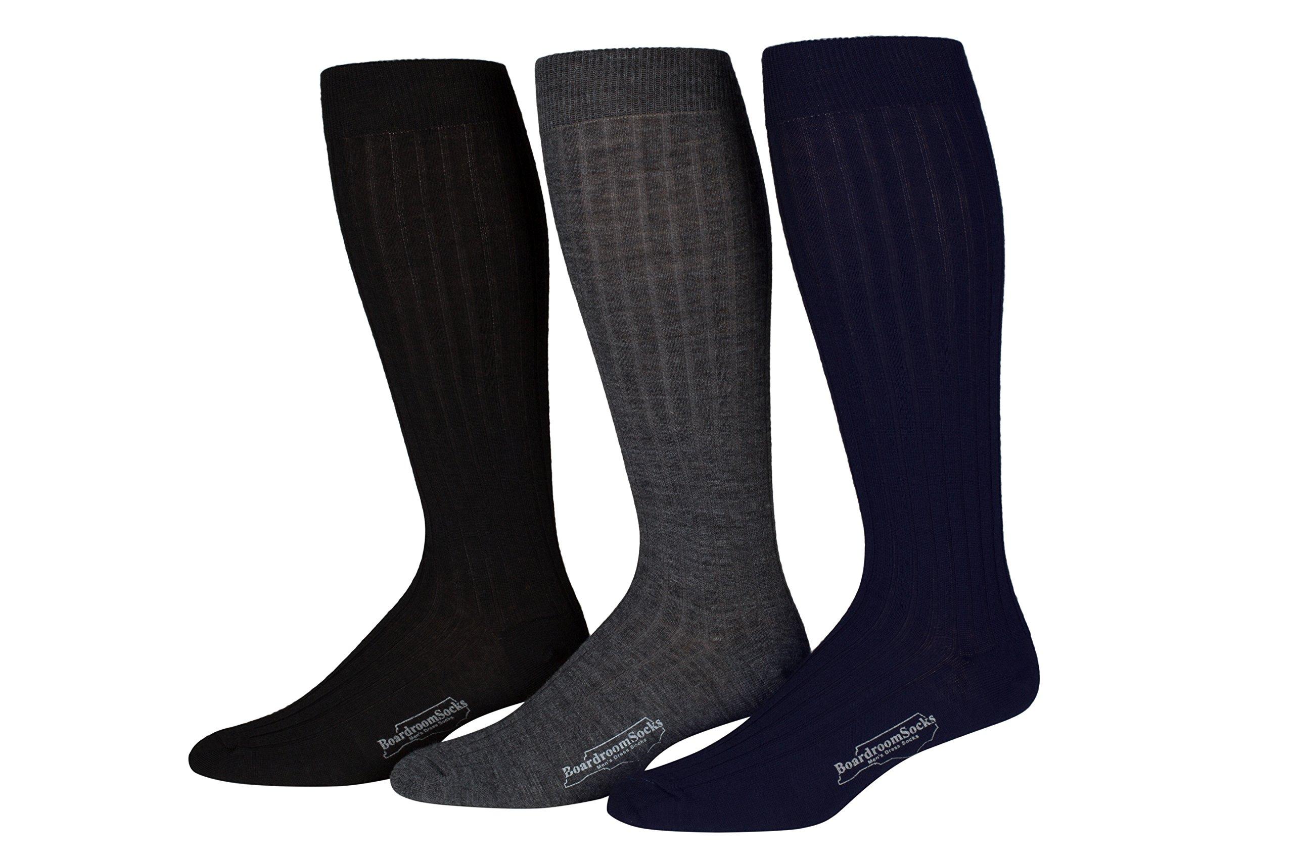 Boardroom Socks Men's Over the Calf Merino Wool Ribbed Dress Socks 3 Pack