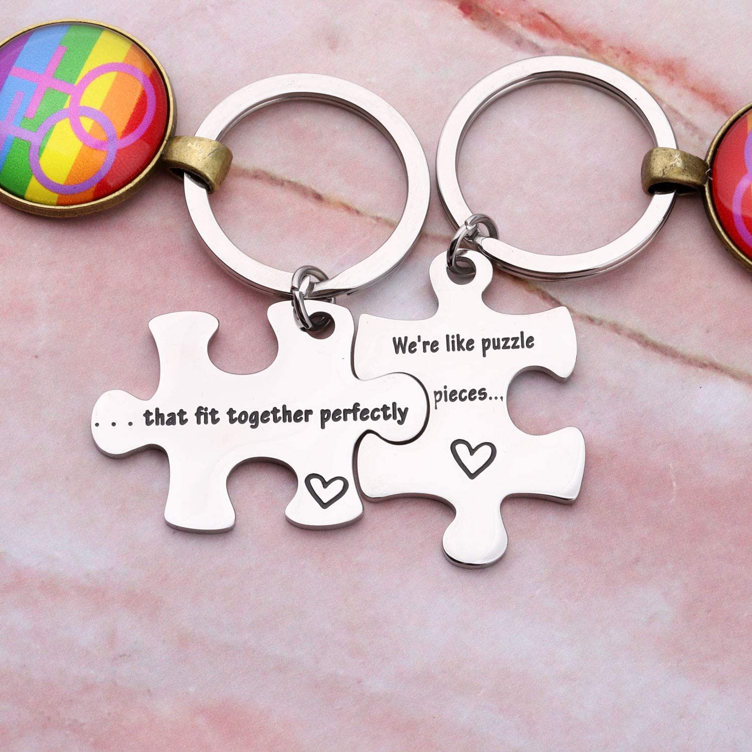 AKTAP LGBT Couples Puzzle Piece Keychains Were Like Puzzle Pieces That Fit Together Perfectly Rainbow Jewelry Lesbian Pride Gift for Her