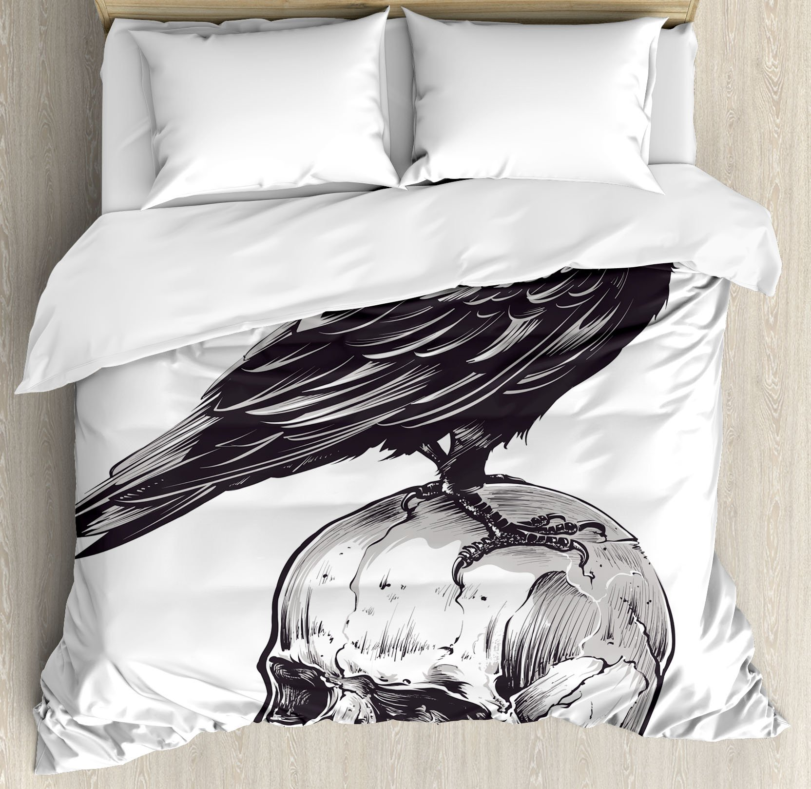 Scary Queen Size Duvet Cover Set by Ambesonne, Scary Movies Theme Crow Bird Sitting on a Human Old Skull Sketchy Image, Decorative 3 Piece Bedding Set with 2 Pillow Shams, Charcoal Grey White