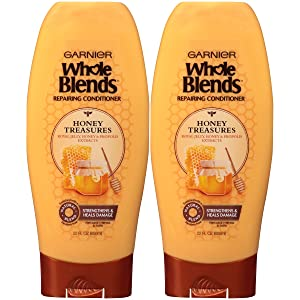 Garnier Whole Blends Honey Treasures Repairing Conditioner for Dry Damaged Hair, 22 Fl Oz (Pack of 2)