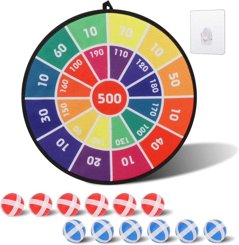 OOTSR Juego de Tablero de Dardos Tablero de Dardos para Ni/ños con 12 Bolas Pegajosas-Juego de Dardos Seguro Juegos de Dardos de Tela-Regalo para Ni/ños Interior y Exterior de Juego-36cm