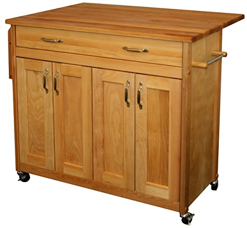 Catskill Craftsmen Mid-Sized Island with Flat Panel Doors and Drop Leaf
