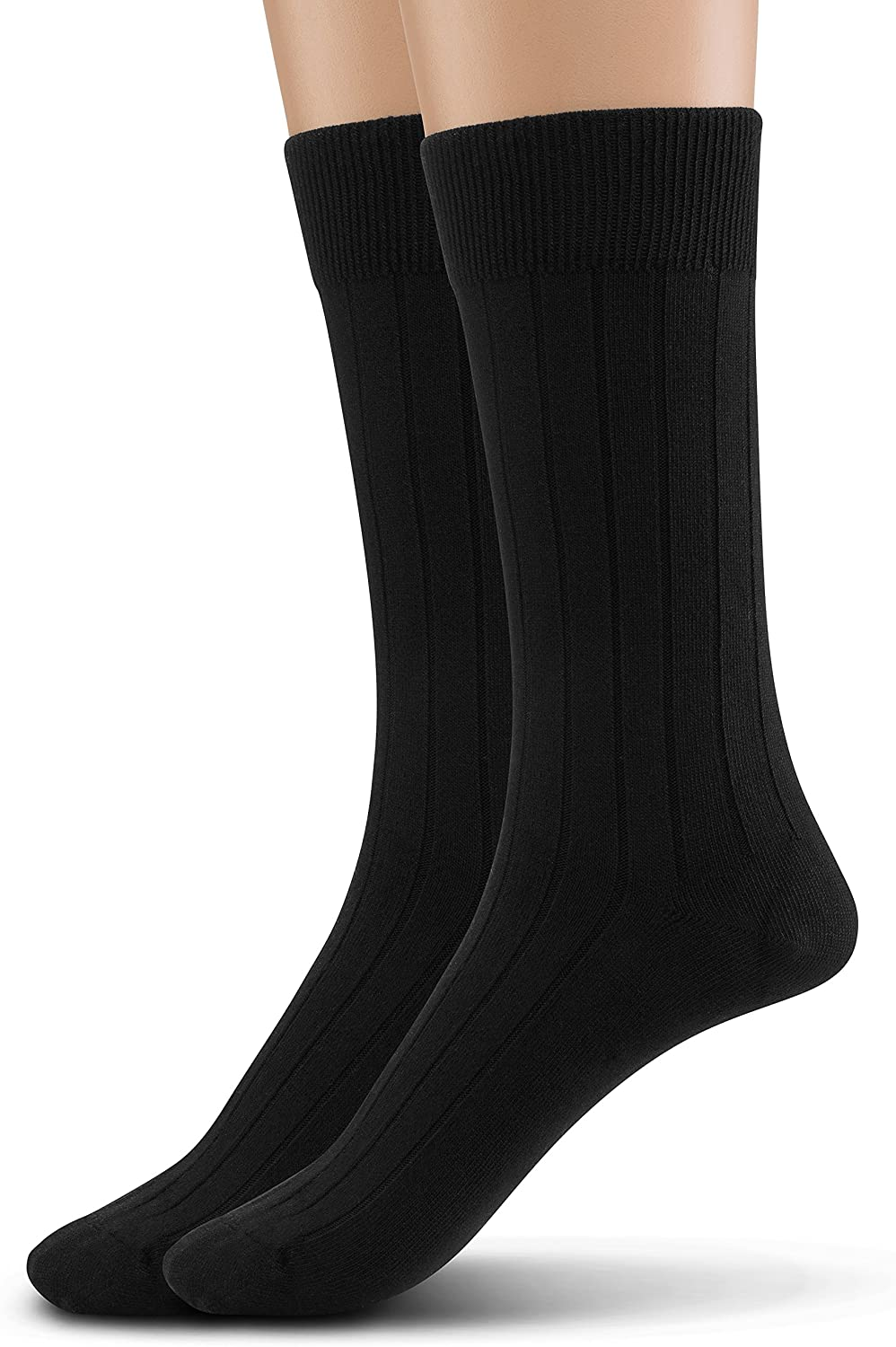 Silky Toes Modal Men's Dress Crew Socks, Solid and Designed Super Soft Socks Multi Pack