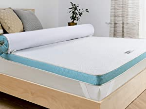 BedStory 3 Inch Fusion Memory Foam Mattress Topper King, Gel / Bamboo Charcoal / Green Tea / Copper Infused Fusion Memory Foam, High-Density Cooling Bed Topper with Strong Supportive