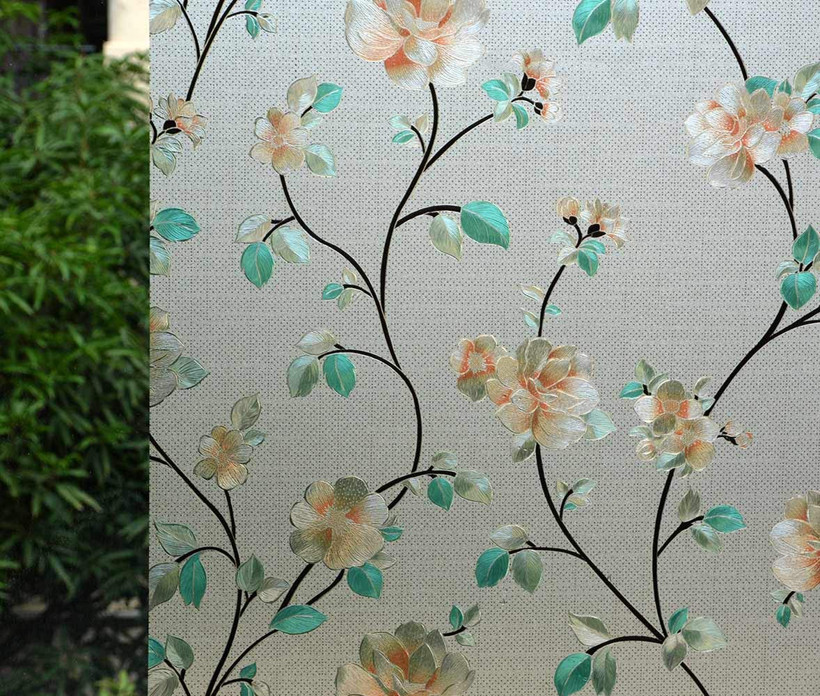 VSUDO Decorative Privacy Window Film, No Glue Static Cling Glass Sticker, Anti-UV Window Tint for Home or Office(Living Room/Bathroom/Kitchen/Front Door)(2Rolls, 35.4'' by 78.7''/ 90X200CM, Jasmine) by VSUDO