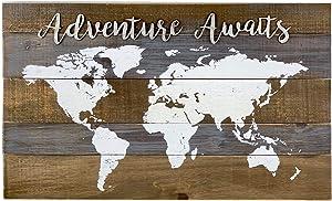 Adventure Awaits World Map Wood Wall Decor, Farmhouse Rustic Wood Wall Plaque,Vintage Adventure Decor,16.75