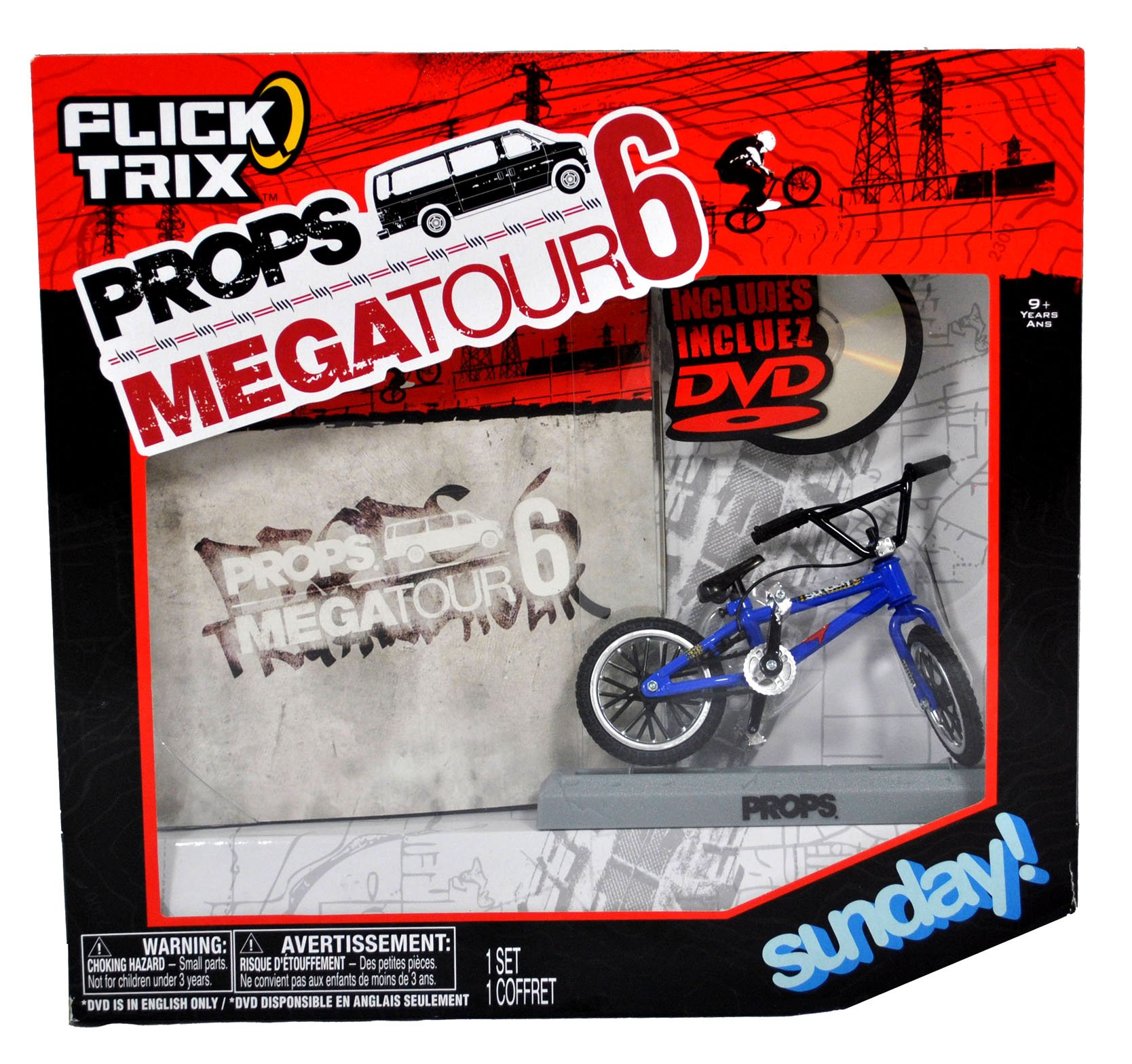 Spinmaster Flick Trix Fingerbike ''Real Bikes, Unreal Tricks'' BMX Bicycle Miniature Set - Blue Color SUNDAY! Bike with Display Base and DVD Props ''Props Mega Tour 6''