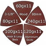 XXGO 55 Pcs Triangle 3-1/8 Inch Hook & Loop Oscillating Multitool Sandpaper No.XG5501
