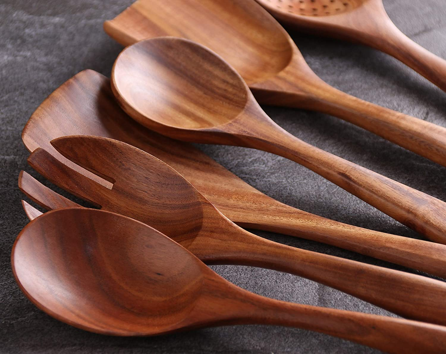 Wooden Kitchen Utensil Set,Salad spoon spatula NAYAHOSE 6-Piece Wood Cooking Spoons Tools for Nonstick Cookware,100/% handmade made by Natural Teak Wood without any painting