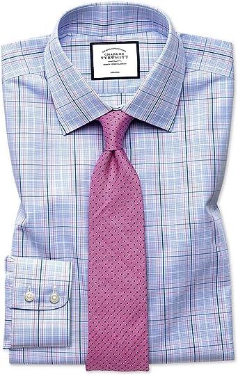 Charles Tyrwhitt Camisa sin Plancha Rosa y Azul Celeste Slim fit a Cuadros príncipe de GalesÂ: Amazon.es: Ropa y accesorios