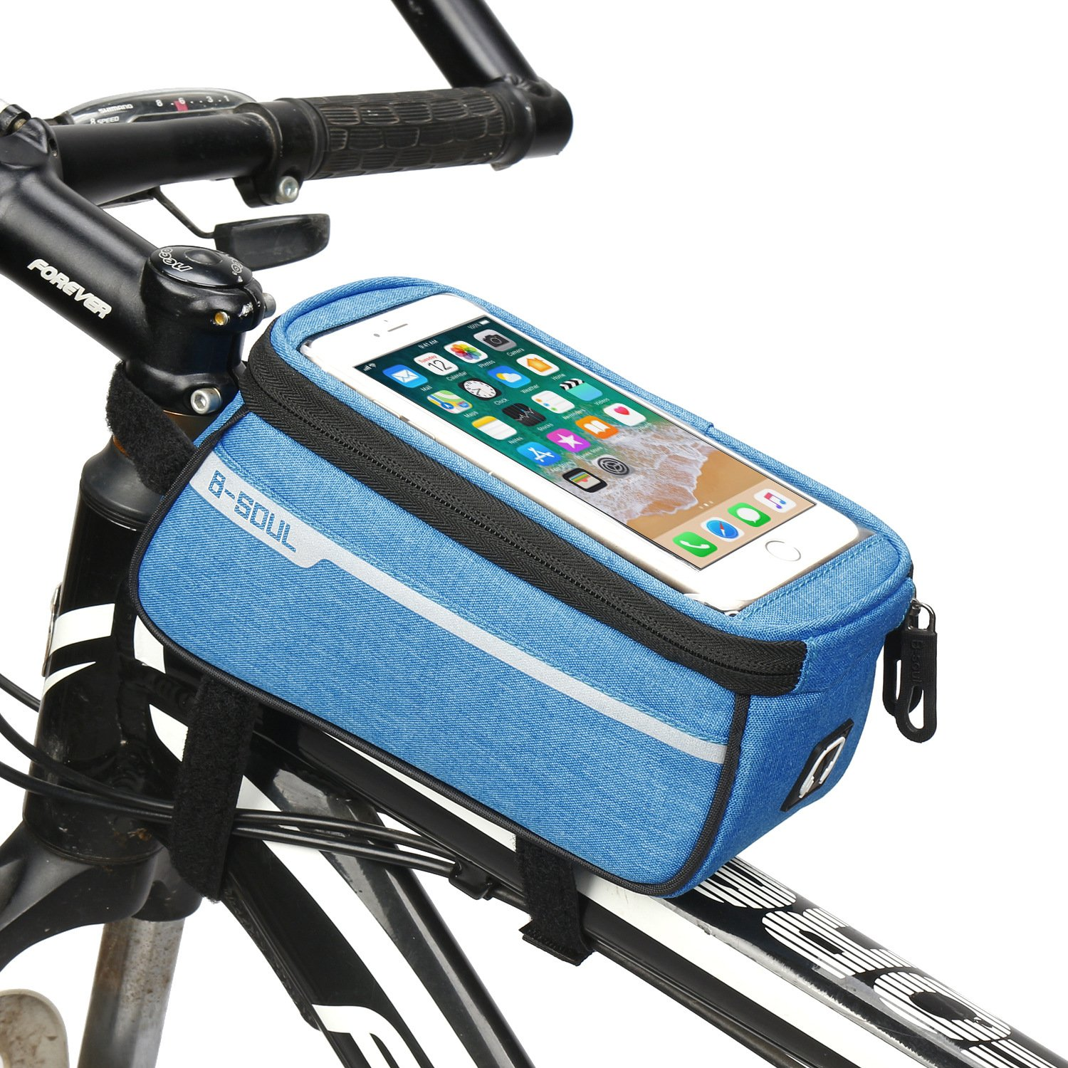 AINAAN Bicycle Front Beam Waterproof, Mountain Bike Riding Storage Bag, Oversized 6.0-inch Mobile Phone Collection, Upgrade, Blue
