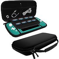 amCase Nintendo Switch Lite Funda Portable (Negro) - Dura Protectora Estuche Portátil de Viaje para Nintendo Switch Lite Consola y Accesorios (2019)