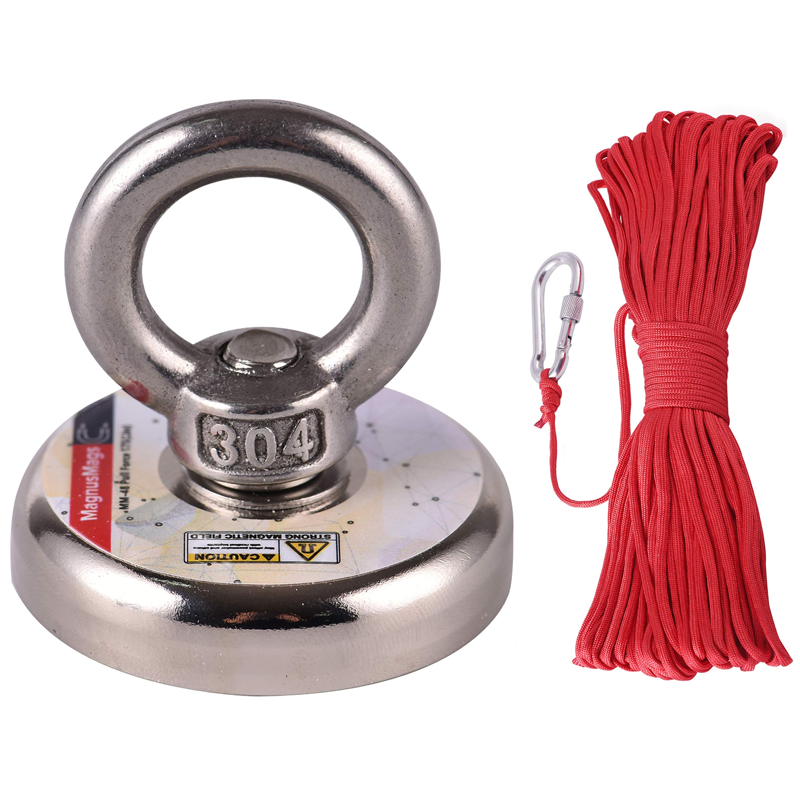 Powerful Fishing Magnets with Rope x 66ft, MagnusMags 175LBS(79KG) Super Strong Pulling Force Neodymium Rare Earth Magnet Fishing Kit - 1.89'' Diameter Heavy Duty Magnet with Rope and Carabiner