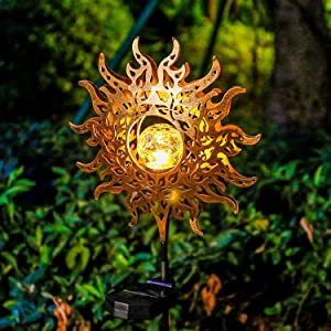Solar Lights Outdoor Garden,Waterproof Metal Sun Decorative Stakes for Walkway,Yard,Lawn,Patio