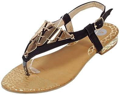 Damen Sandalen mit Metall-Applikationen Zehentrenner in 5 Farben Gr. 36 37 38 39 40 41 Weiß 37 RZADrm6Zo