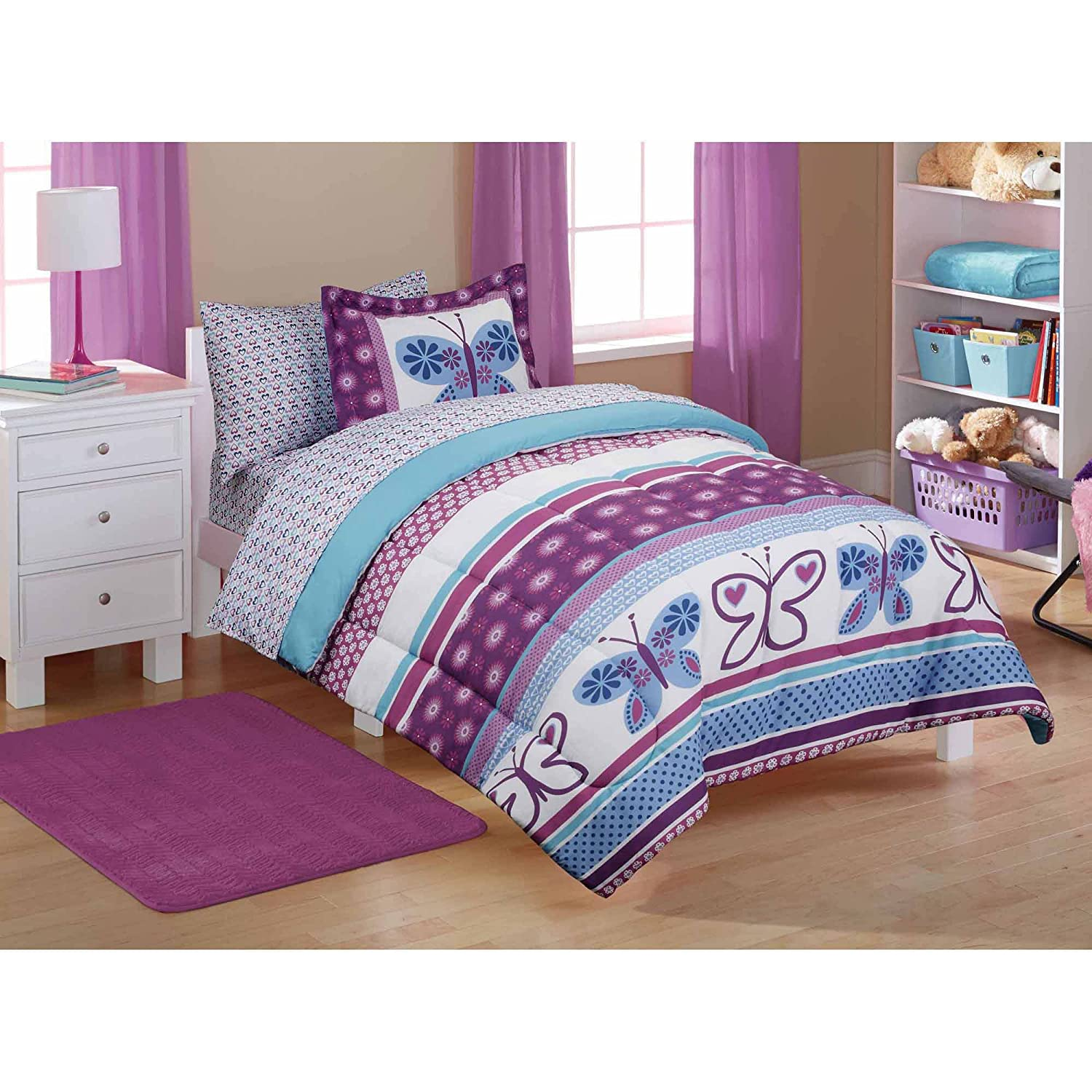 Amazon.com: 5pc Girl Purple Blue Butterfly Polka Dot Twin Comforter Set  (5pc Bed In A Bag): Home U0026 Kitchen