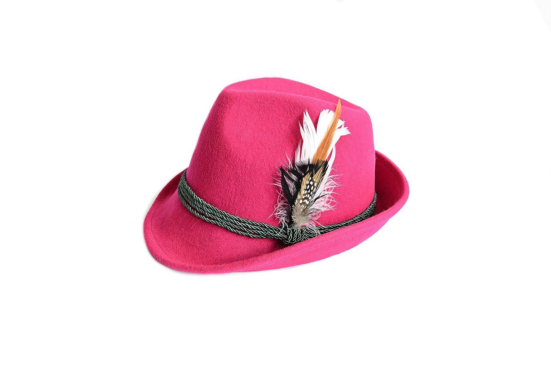 Trachtenhut aus 100% Wolle mit echter Feder, Gr. 55-59, 7 verschiedene Farben