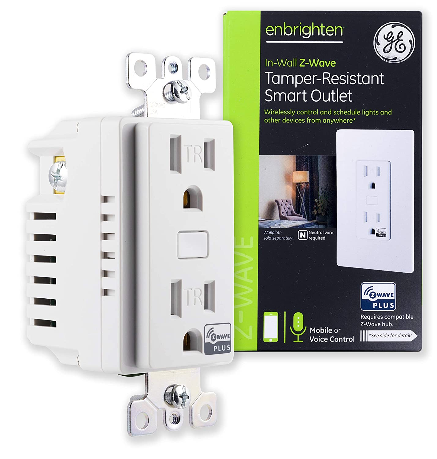 ge enbrighten z-wave plus smart receptacle outlet, on/off, tamper  resistant, 1 on / 1 controllable, for lighting/appliances, zwave hub  required,