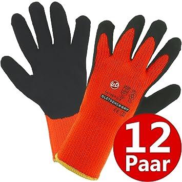 8 Thermo Winter Handschuhe warme Arbeitshandschuhe Gletscher-Grip neongelb Gr
