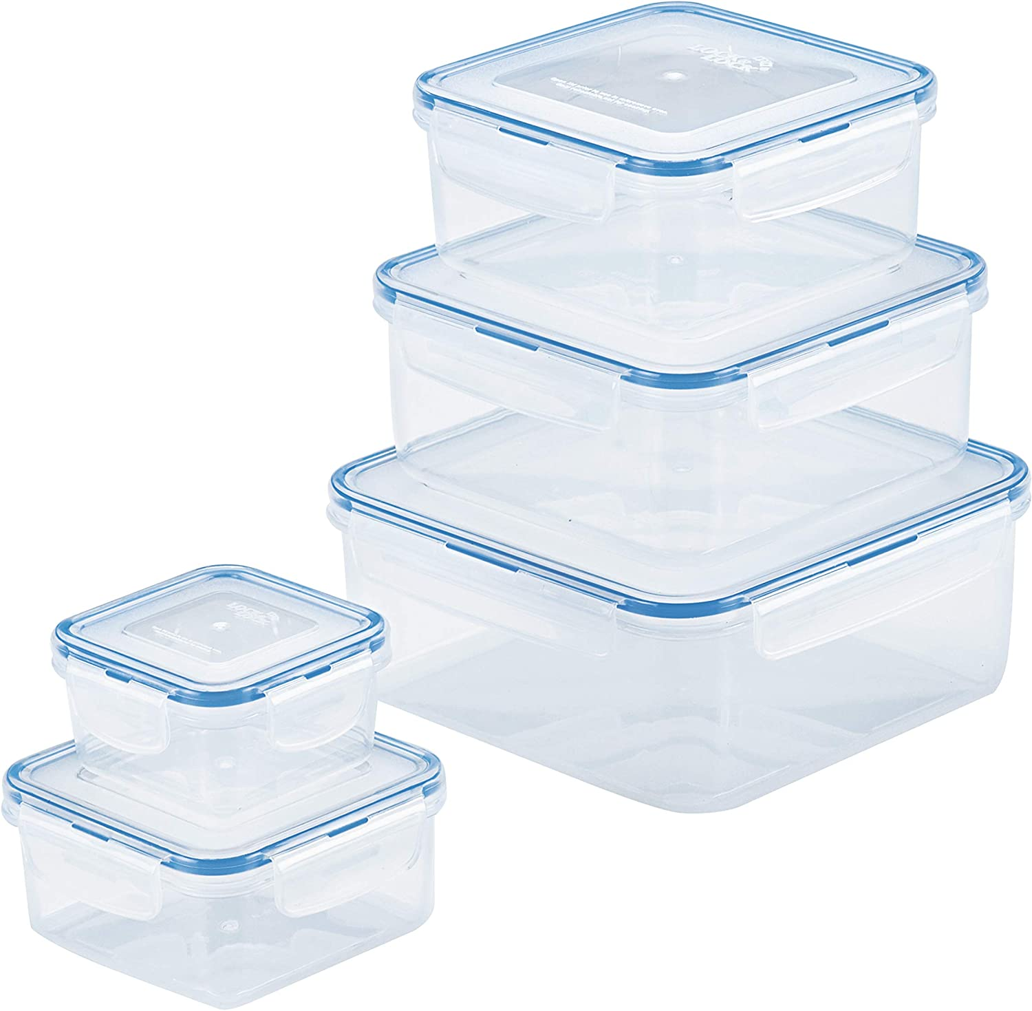 Lock & Lock HPL980CLQ5 Easy Essentials Storage Food Storage Container Set / Food Storage Bin Set - 10 Piece, Clear