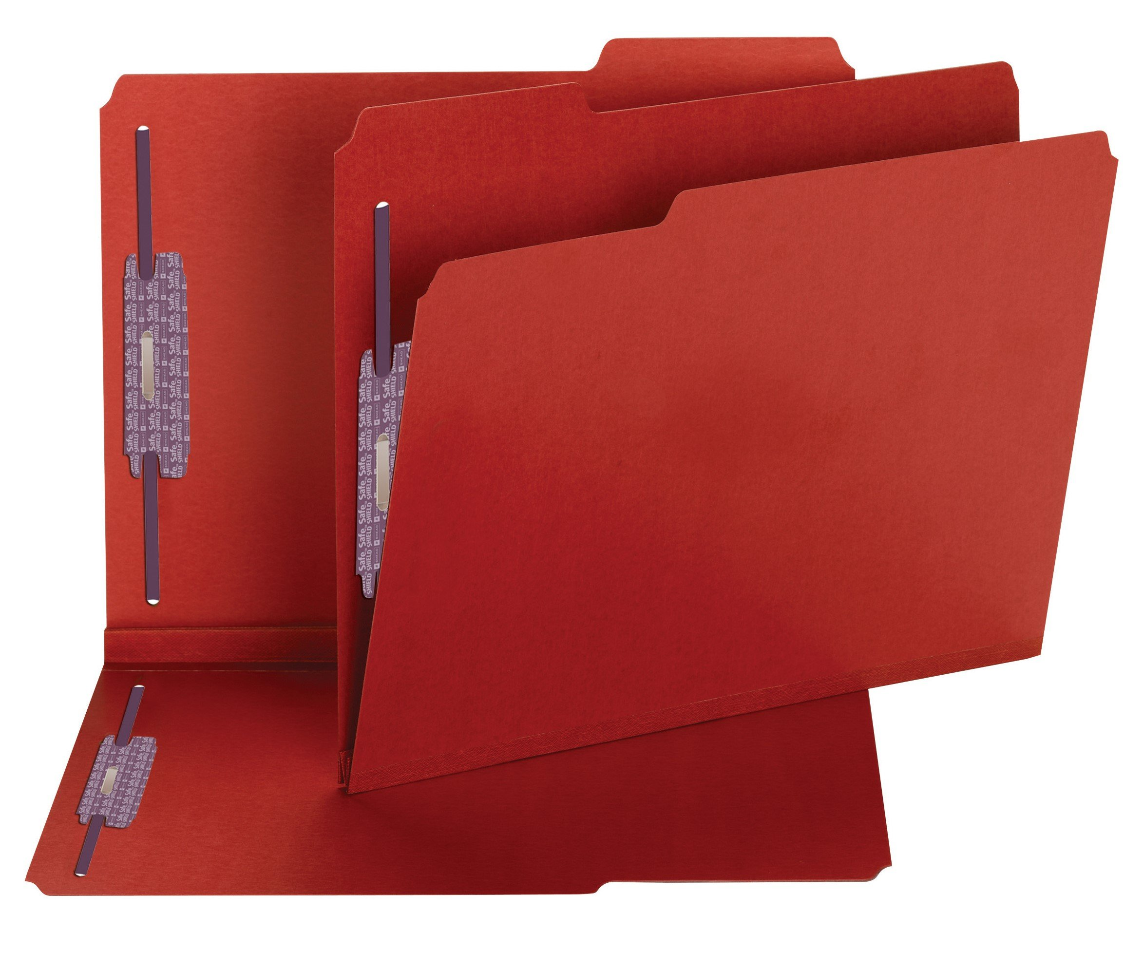 Smead Pressboard Fastener File Folder with SafeSHIELD Fasteners, 2 Fasteners, 1/3-Cut Tab, 2'' Expansion, Letter Size, Bright Red, 25 per Box  (14936)