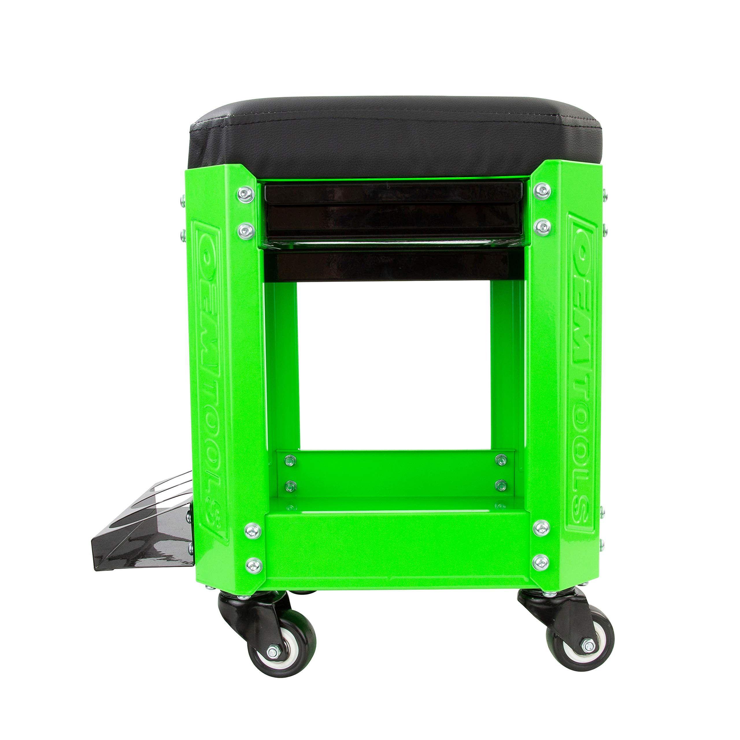 OEMTOOL 24993 Green Rolling Workshop Creeper Seat with 2 Tool Storage Drawers Under Seat Storage Can Holders by OEMTOOLS (Image #3)