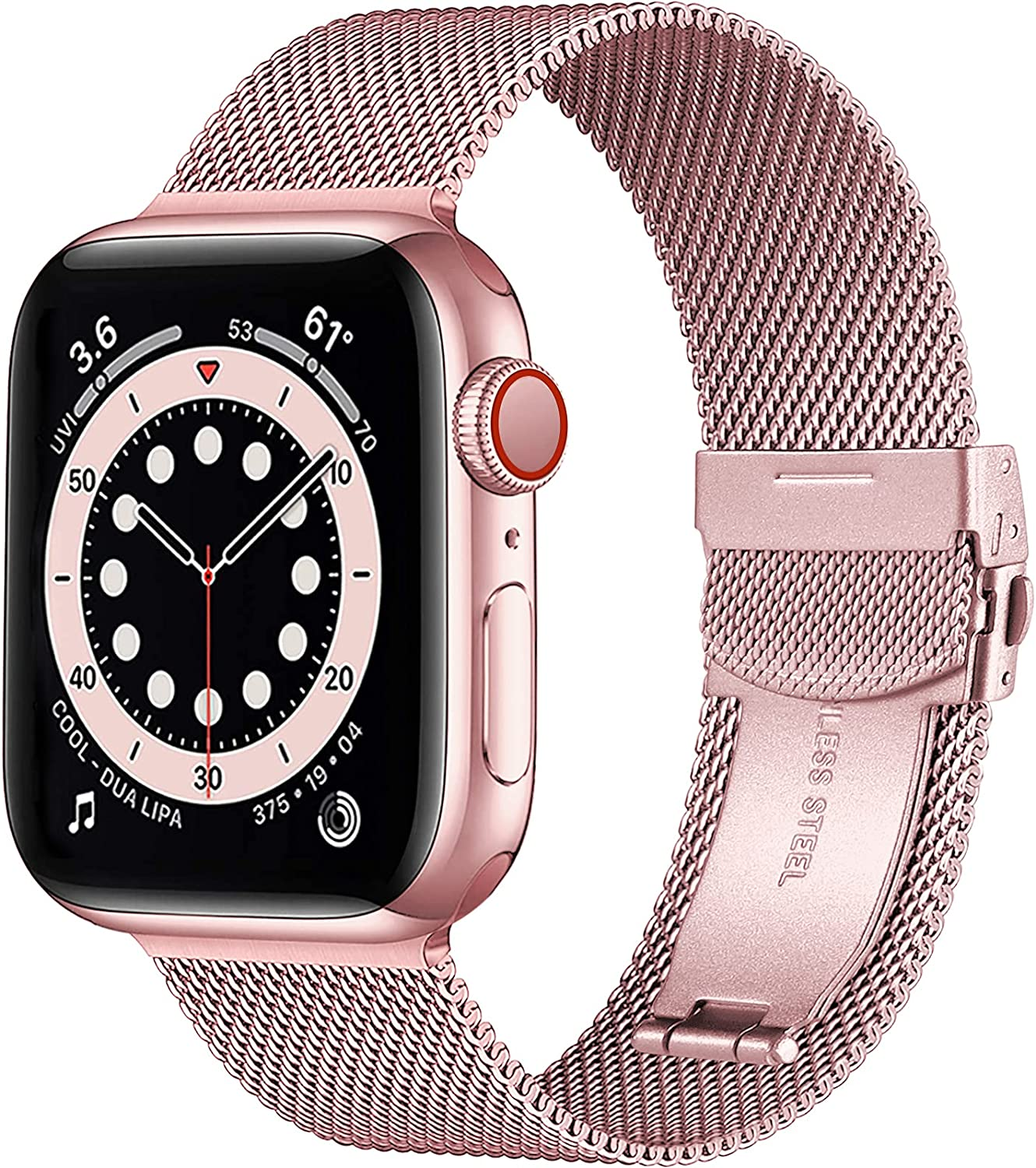 Muranne Compatible with Apple Watch Band 40mm 38mm for Women Men, Adjustable Stainless Steel Mesh Loop Sport Metal Wristband Compatible with iWatch SE Series 6 5 4 3 2 1, 38mm/40mm Rose Gold
