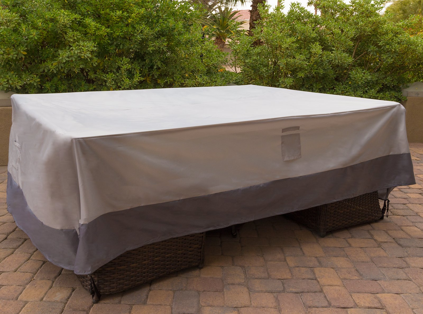 Reusable Revolution 128'' x 84'' XL Patio Furniture Cover - Water Resistant Rectangular Outdoor Patio Set Cover (Light Grey/Dark Grey) by Reusable Revolution (Image #2)