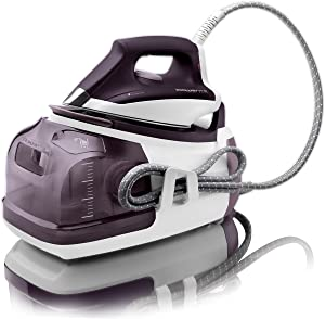Rowenta DG8520 Perfect Steam 1800-Watt Eco Energy Steam Iron Station Stainless Steel Soleplate, 400-Hole, Purple