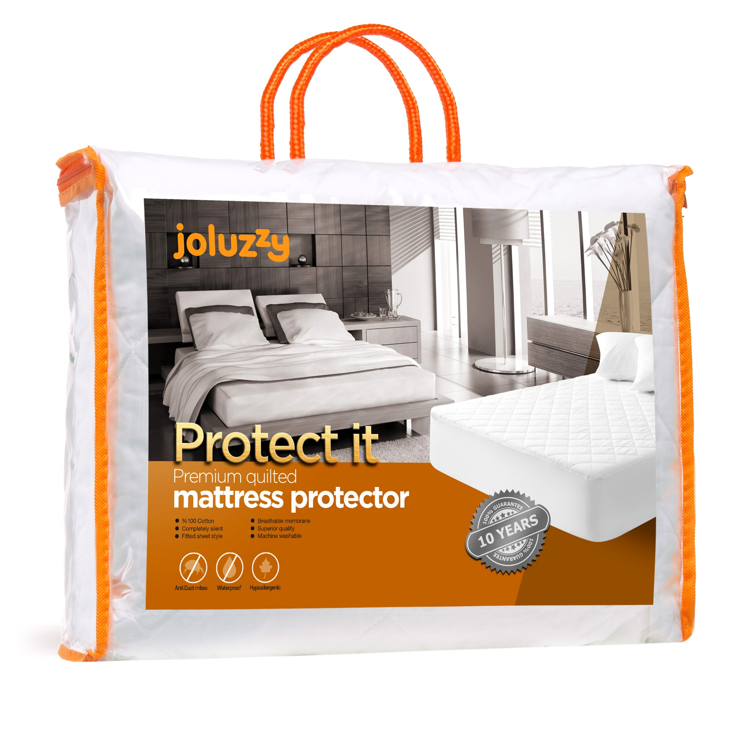 joluzzy Quilted Waterproof Mattress Pad - 100% Cotton Surface - Breathable - Noiseless - Hypoallergenic - Vinyl-Free - Fitted Sheet Mattress Protector, Twin Size by joluzzy