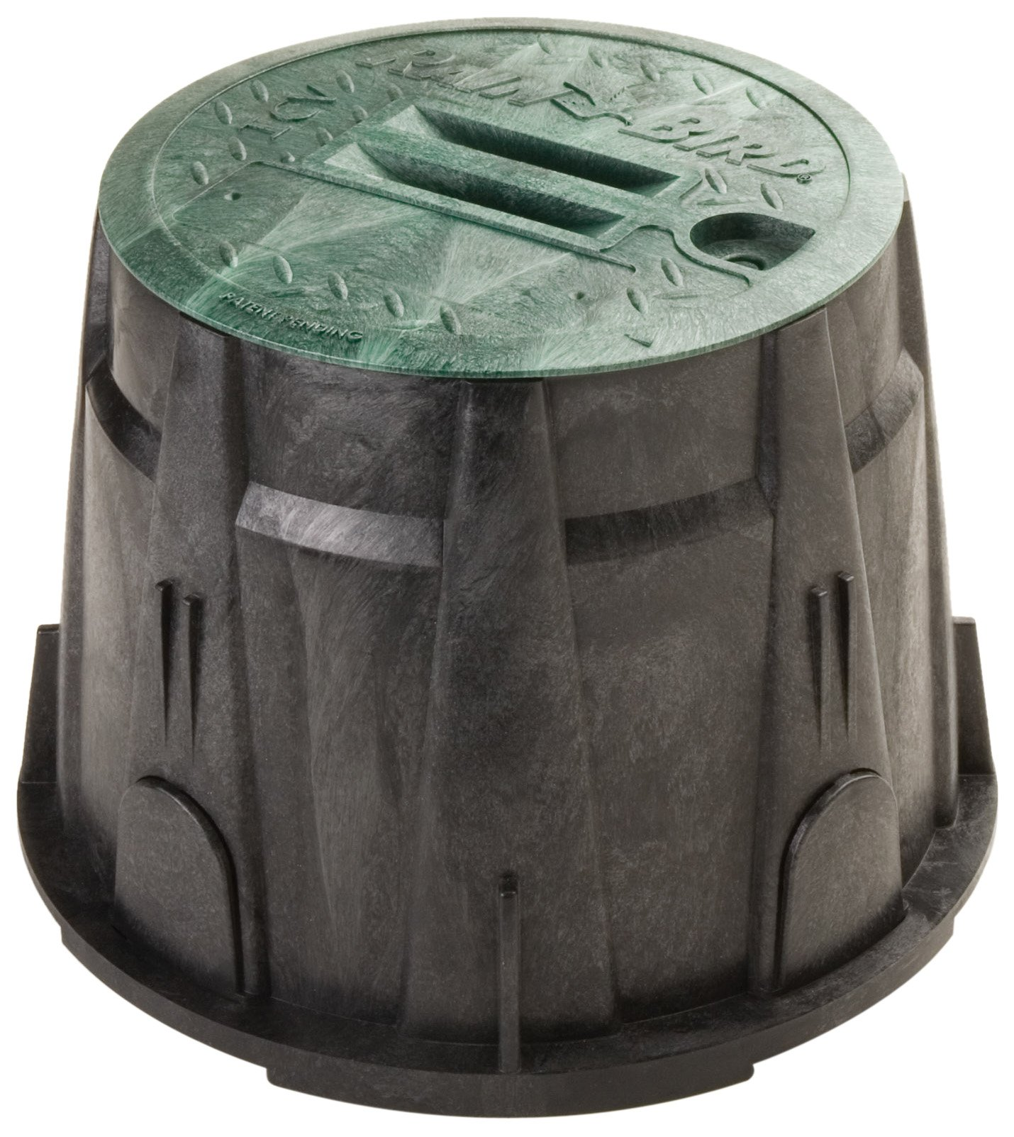 Rain Bird VBRND10 Round Sprinkler Valve Box, Black with Green Lid, 10'' High