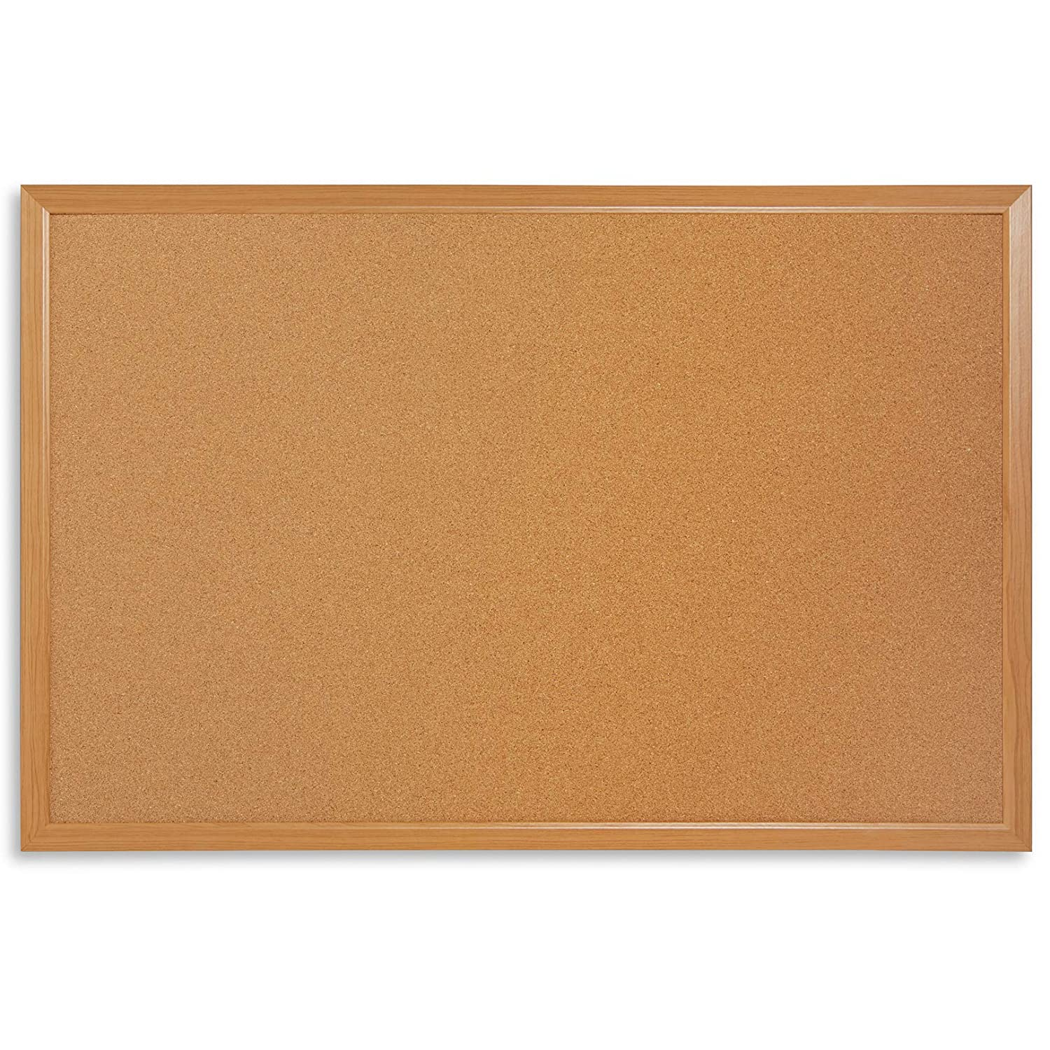 "Blue Summit Supplies 24"" x 36"" Corkboard with Natural Wood Frame, Bulletin Board with Included Push Pins for Office, Classroom, or Home, Mounting Hardware Included"